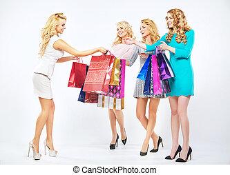 fyra, vackra flickor, avnjut, den, inköp