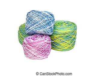 fyra, virkning, bomull, rolls, multi-colored