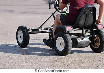 fyrhjuling, solig, noface, baksida, foot-operated, dag, ...