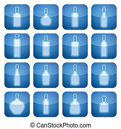 fyrkant, 2, set:, ikonen, kobolt, alkohol, flaskor
