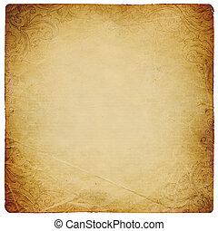 fyrkant, format, årgång, sheet., isolerat, ornated, papper, white.