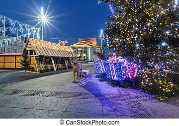 fyrkant, gata, träd, traditionell, katowice, huvudsaklig, jul, marknaden