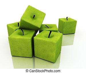 fyrkant, grön, apples.