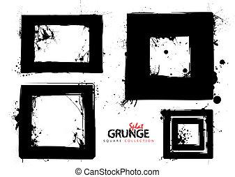fyrkant, grunge, kollektion