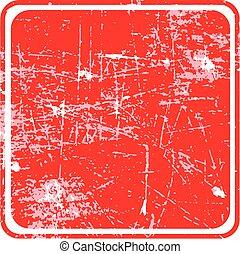 fyrkant, grunge, siolated, stämpel, bakgrund., tom, vit röd