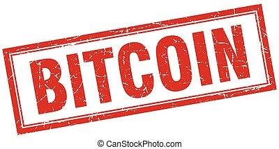 fyrkant, grunge, stämpel, bitcoin, vit röd