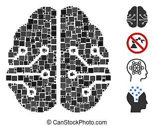 fyrkant, ikon, elektronisk, hjärna, vektor, mosaik
