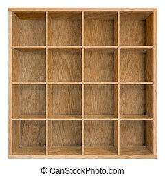 fyrkant, illustration, bokskåp, bokhylla, eller, tom, 3