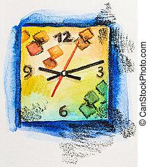 fyrkant, klocka, begrepp, nymodig, vattenfärg, tid, målning,...