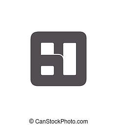 fyrkant, logo, abstrakt, utrymme, brev, ht, nekande