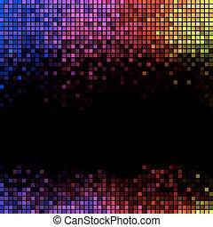 fyrkant, lyse, abstrakt, disko, bakgrund., flerfärgad, bildpunkt, mosaik