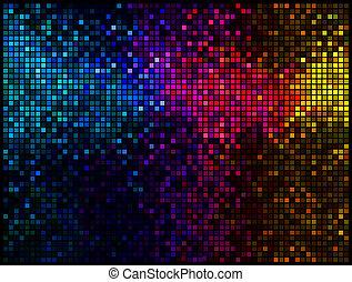 fyrkant, lyse, abstrakt, disko, bakgrund., flerfärgad, vektor, bildpunkt, mosaik