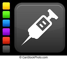 fyrkant, medicinsk, internet, injektionsspruta, knapp, ikon