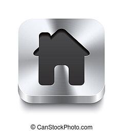 fyrkant, metall, knapp, -, hus, perspektive, ikon