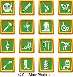 fyrkant, orthopedist, ikonen, vektor, grön, sätta, redskapen...