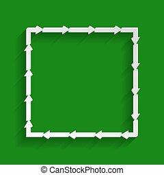 fyrkant, pil, whitish, form., bakgrund., papper, grön, vector., skugga, mjuk, ikon