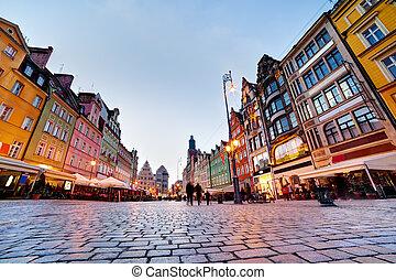 fyrkant, Polen, region, wroclaw, kväll, silesia, marknaden...