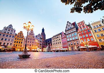 fyrkant, polen, region., wroclaw, kväll, silesia, marknaden