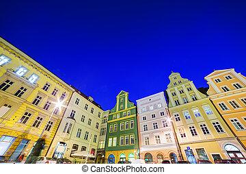 fyrkant, Polen,  region,  wroclaw, Natt,  silesia, marknaden