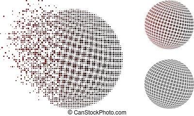 fyrkant, punkterat, abstrakt, halftone, glob, upplöst, bildpunkt, ikon
