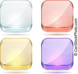 fyrkant, rundat, färg, glas, lysande, buttons.