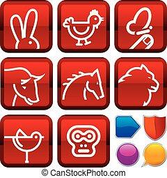 fyrkant, sätta, ikonen, buttons., djur, geometrisk, style.
