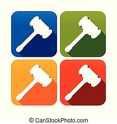fyrkant, silhuett, symbol, ved, sätta, hammare, runda, ikon