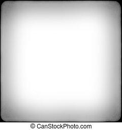 fyrkant, svartvitt, film, ram, med, vignetting