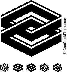 fyrkant, symboler, enhet, vektor, svart, vit