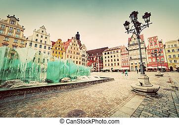 fyrkant,  wroclaw, Polen, berömd, fontän, marknaden