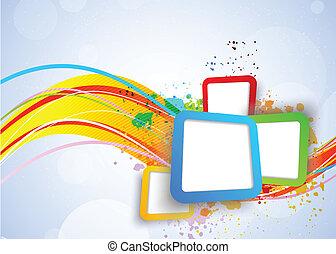 fyrkanteer, färgrik, bakgrund