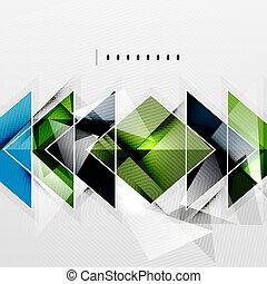 fyrkanteer, och, skuggor, -, tech, abstrakt, bakgrund
