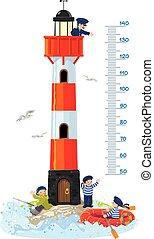 fyrtårn, mur kort, meter, højde, eller