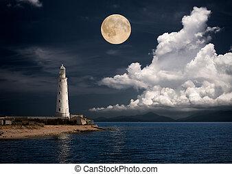 fyrtårn, nat