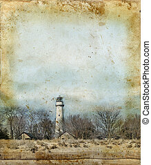 fyrtårn, på, en, grunge, baggrund