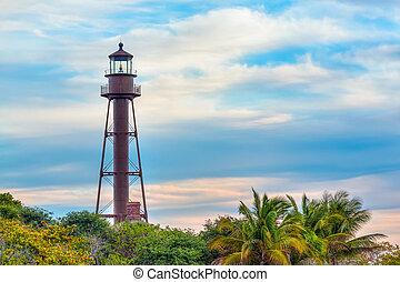 fyrtårn, på, sanibel ø
