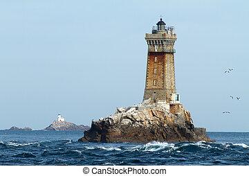 fyrtårne, ind, havet