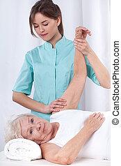 fysikalisk terapi, för, arm