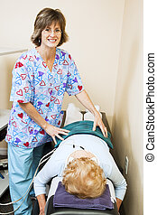 fysioterapeut, älskar, henne, jobb