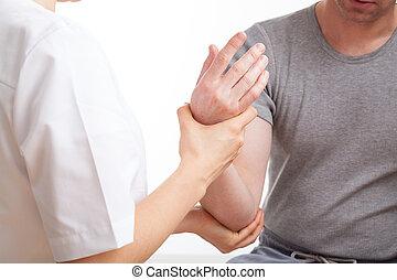 fysioterapeut, hos, patient