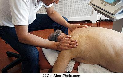 fysioterapi, af, arbejde på, muskler
