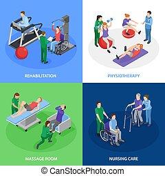 fysioterapi, begreb, isometric, rehabilitering