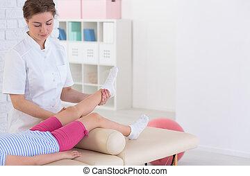 fysioterapi, og, barn, patient