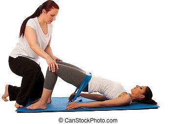 fysioterapi, -, terapeut, gør, excercises, hos, band, by, forbedre, tilbage, strenght, og, stabilitet, hos, en, patient, til, genvinde, efter, kvæstelse, isoleret