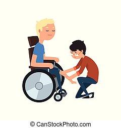fysiotherapeut, ector, medisch, patiënt, illustratie, invalide, therapie, achtergrond, witte , rehabilitatie, lichamelijk