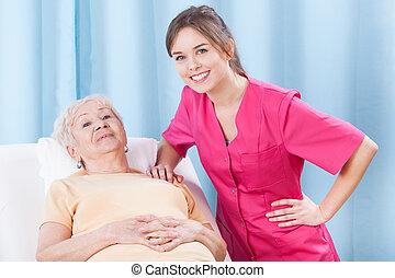 fysiotherapeut, en, bejaarden, patiënt
