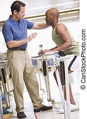 fysiotherapeut, patiënt, rehabilitatie