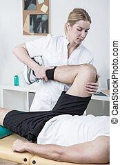 fysiotherapeut, patiënt, vrouwlijk, werkende