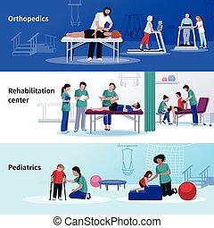 fysiotherapie, rehabilitatie, 3, plat, horizontaal, centrum