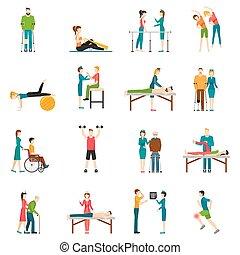 fysiotherapie, rehabilitatie, kleur, iconen